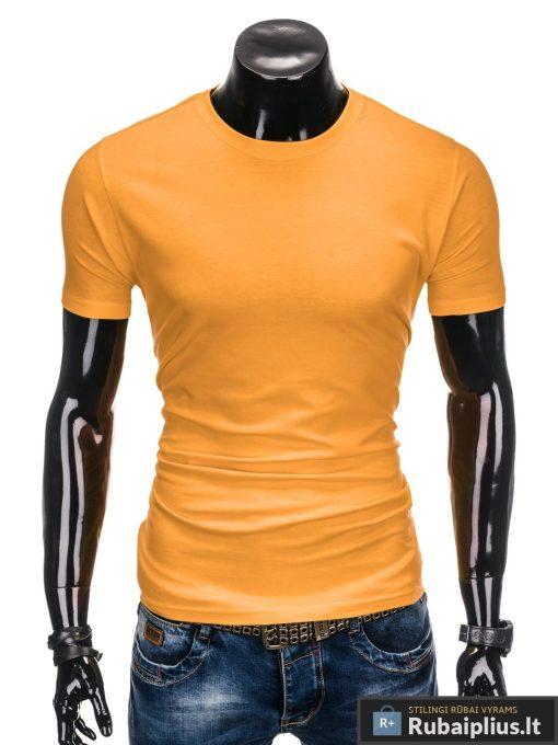 Vyriski vienspalviai tamsiai geltoni marškinėliai vyrams internetu pigiau S884TG priekis