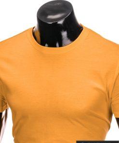 Vyriski vienspalviai tamsiai geltoni marškinėliai vyrams internetu pigiau S884TG apykaklė