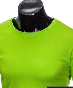 Vyriski sportiniai žali vienspalviai marškinėliai vyrams internetu pigiau S883Z apykaklė