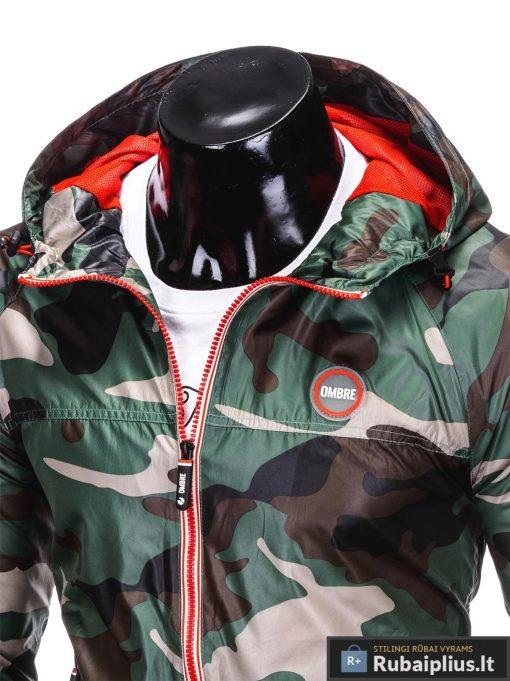 Vyriska žalia kamufliažinė pavasarinė striukė vyrams rudenine internetu pigiau C352ZCAM apykaklė