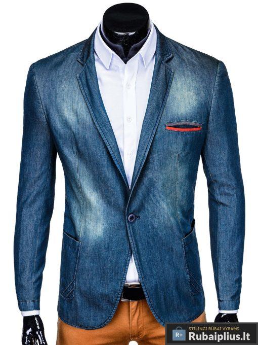 Tamsiai mėlynas džinsinis vyriškas švarkas bleizeris vyrams internetu pigiau M130JEANS priekis