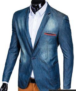 Tamsiai mėlynas džinsinis vyriškas švarkas bleizeris vyrams internetu pigiau M130JEANS kairė