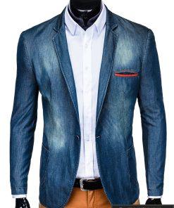 Tamsiai mėlynas džinsinis vyriškas švarkas bleizeris vyrams internetu pigiau M130JEANS prasegtas