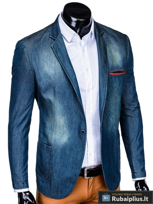 Tamsiai mėlynas džinsinis vyriškas švarkas bleizeris vyrams internetu pigiau M130JEANS dešinė
