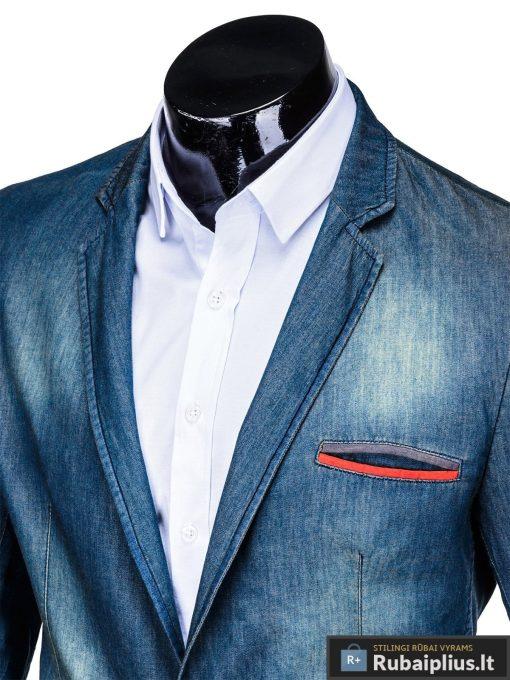Tamsiai mėlynas džinsinis vyriškas švarkas bleizeris vyrams internetu pigiau M130JEANS apykaklė