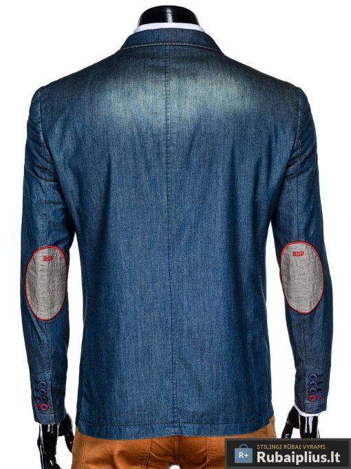 Tamsiai mėlynas džinsinis vyriškas švarkas bleizeris vyrams internetu pigiau M130JEANS nugara