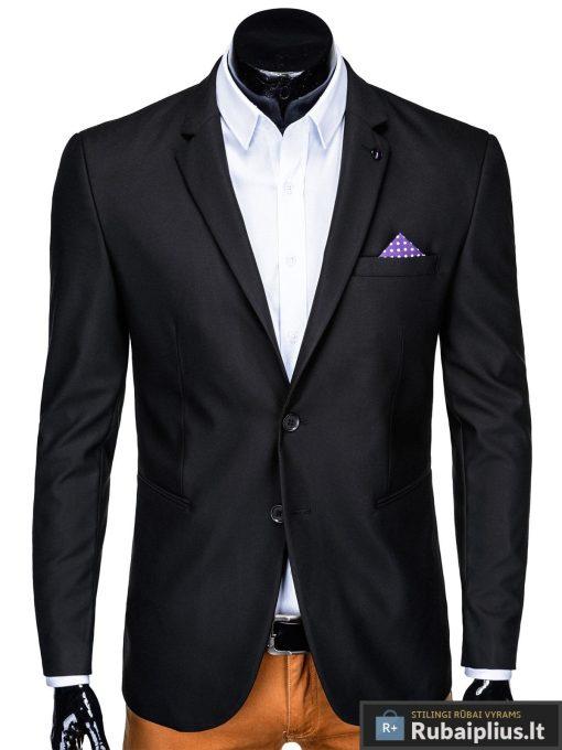 Klasikinis juodas vyriškas švarkas su nosinaite vyrams internetu pigiau M149J priekis