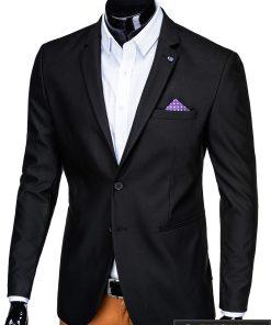 Klasikinis juodas vyriškas švarkas su nosinaite vyrams internetu pigiau M149J kairė