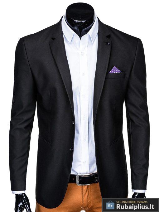 Klasikinis juodas vyriškas švarkas su nosinaite vyrams internetu pigiau M149J prasegtas