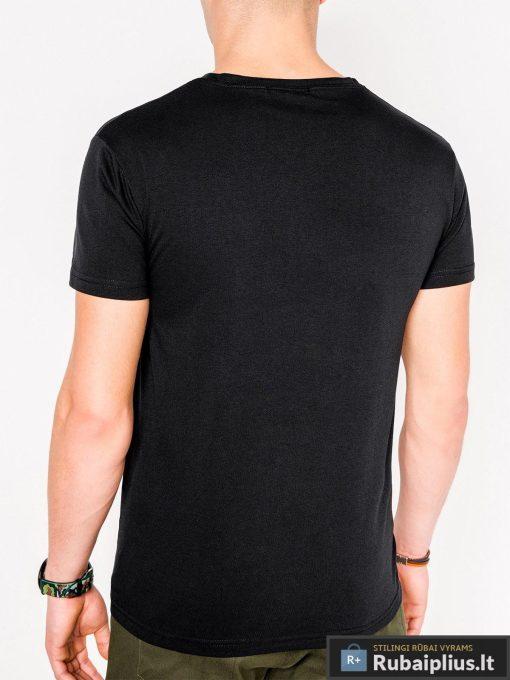 Stilingi pigus vyriski juodi marškinėliai vyrams su užrašu iraplikacija kaukole nuotrauka S1084J nugara