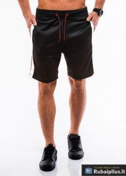 Vyriski juodi šortai vyrams madingos juostos šonuose internetu pigiau W177J priekis