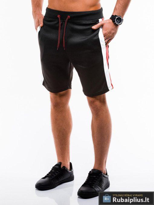 Vyriski juodi šortai vyrams madingos juostos šonuose internetu pigiau W177J kairė