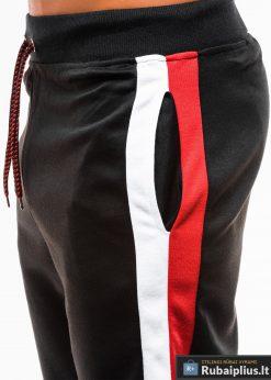 Vyriski juodi šortai vyrams madingos juostos šonuose internetu pigiau W177J šonas