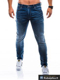 Vyriski klasikiniai tamsiai mėlyni džinsai vyrams internetu pigiau P785TM priekis