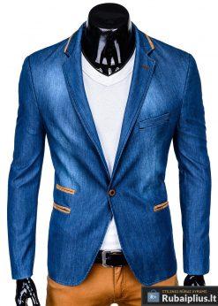 Mėlynas džinsinis vyriškas švarkas bleizeris vyrams internetu pigiau M129JEANS priekis