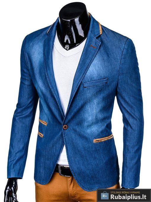 Mėlynas džinsinis vyriškas švarkas bleizeris vyrams internetu pigiau M129JEANS kairė