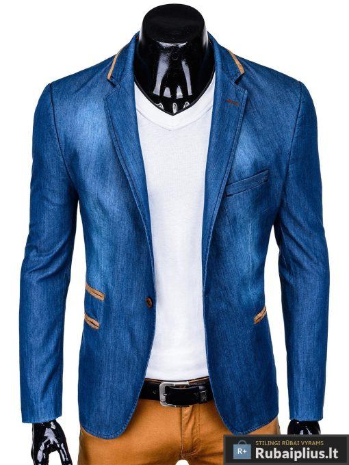 Mėlynas džinsinis vyriškas švarkas bleizeris vyrams internetu pigiau M129JEANS prasegtas