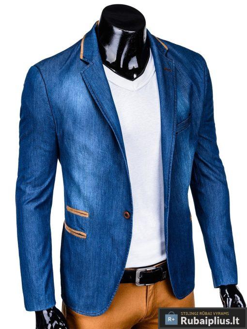 Mėlynas džinsinis vyriškas švarkas bleizeris vyrams internetu pigiau M129JEANS dešinė