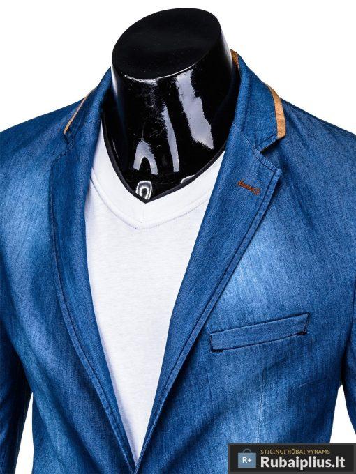 Mėlynas džinsinis vyriškas švarkas bleizeris vyrams internetu pigiau M129JEANS apykaklė