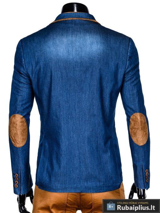 Mėlynas džinsinis vyriškas švarkas bleizeris vyrams internetu pigiau M129JEANS nugara