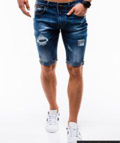 Vyriski mėlyni džinsiniai šortai vyrams internetu pigiau W124JEANS priekis