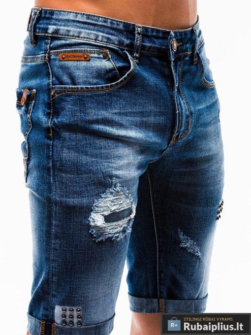Vyriski mėlyni džinsiniai šortai vyrams internetu pigiau W124JEANS priekis kišenė