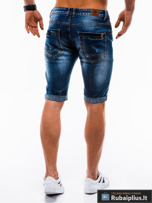 Vyriski mėlyni džinsiniai šortai vyrams internetu pigiau W124JEANS nugara