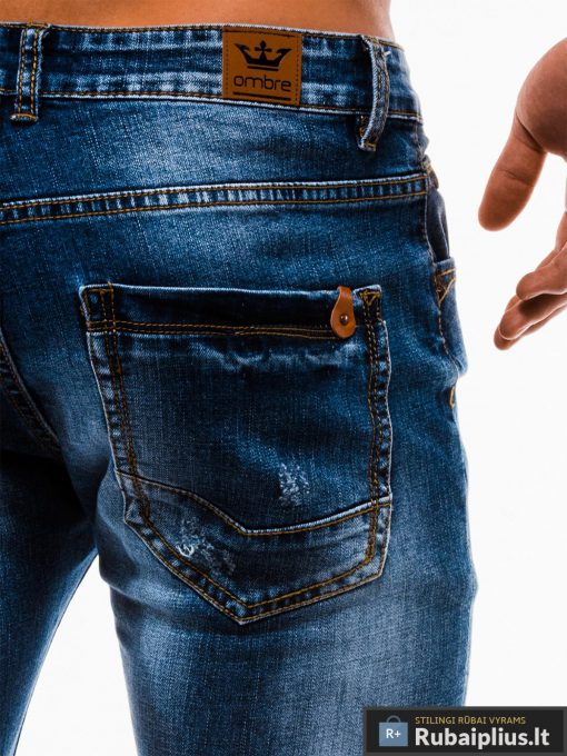 Vyriski mėlyni džinsiniai šortai vyrams internetu pigiau W124JEANS nugara kišenė