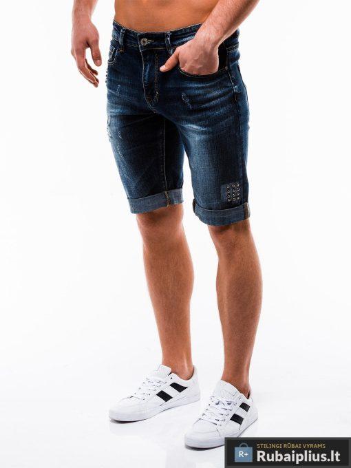 Vyriski mėlyni džinsiniai šortai vyrams internetu pigiau W123JEANS kairė