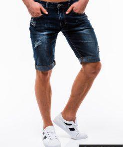 Vyriski mėlyni džinsiniai šortai vyrams internetu pigiau W123JEANS dešinė
