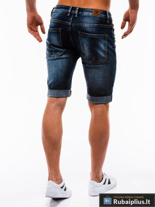 Vyriski mėlyni džinsiniai šortai vyrams internetu pigiau W123JEANS nugara