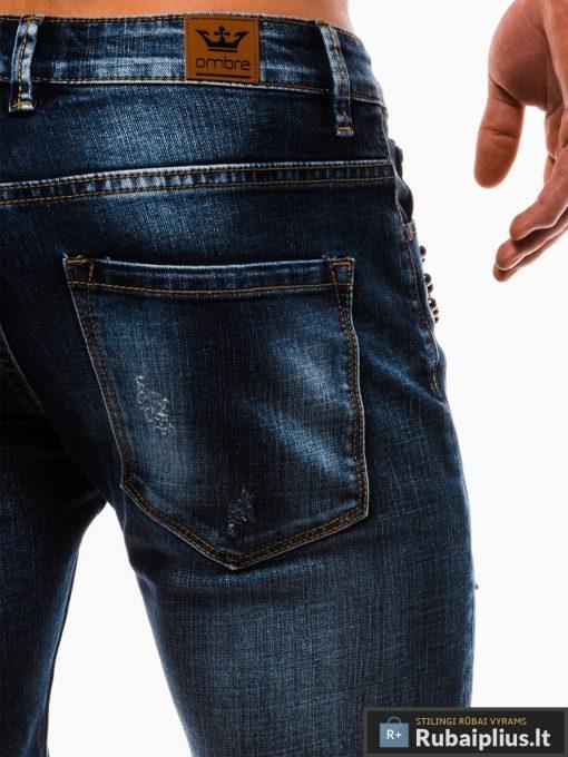 Vyriski mėlyni džinsiniai šortai vyrams internetu pigiau W123JEANS kišenė