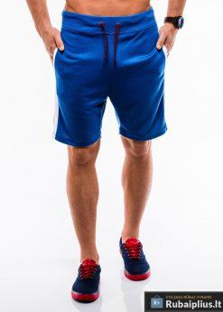 Vyriski mėlyni šortai vyrams internetu madingos juostos šonuose pigus W177M priekis