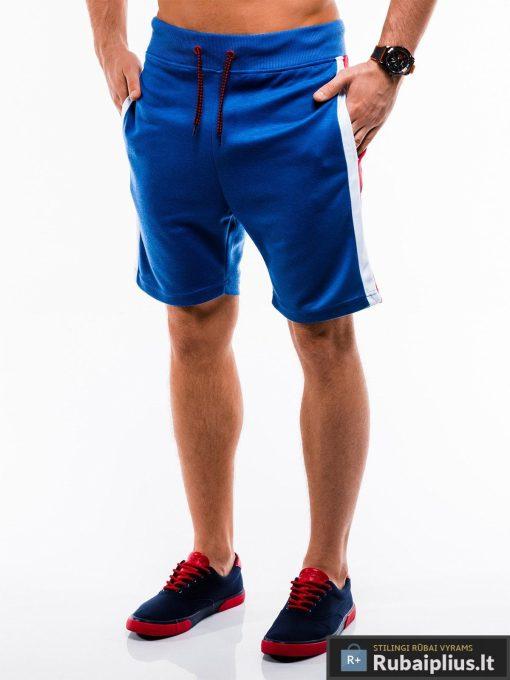 Vyriski mėlyni šortai vyrams internetu madingos juostos šonuose pigus W177M kairė