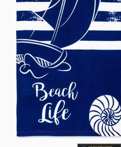Tamsiai mėlynas-raudonas paplūdimio rankšluostis Beach A197 raštas