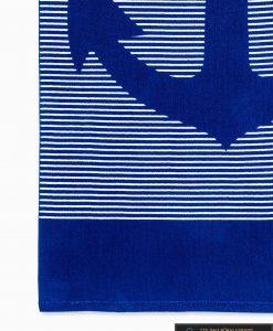Tamsiai mėlynas paplūdimio rankšluostis larif A195 raštas