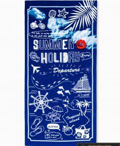 Tamsiai mėlynas paplūdimio rankšluostis summer A195