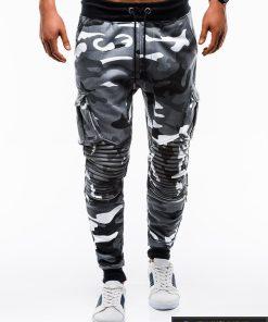 Stilingos vyriskos pilkos kamufliažinės sportinės kelnės vyrams internetu pigiau P747PKAM priekis
