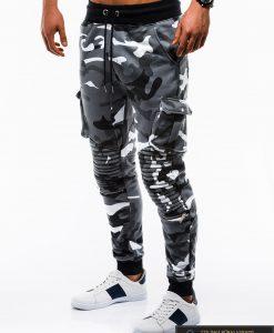 Stilingos vyriskos pilkos kamufliažinės sportinės kelnės vyrams internetu pigiau P747PKAM kairė