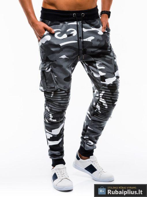 Stilingos vyriskos pilkos kamufliažinės sportinės kelnės vyrams internetu pigiau P747PKAM dešinė