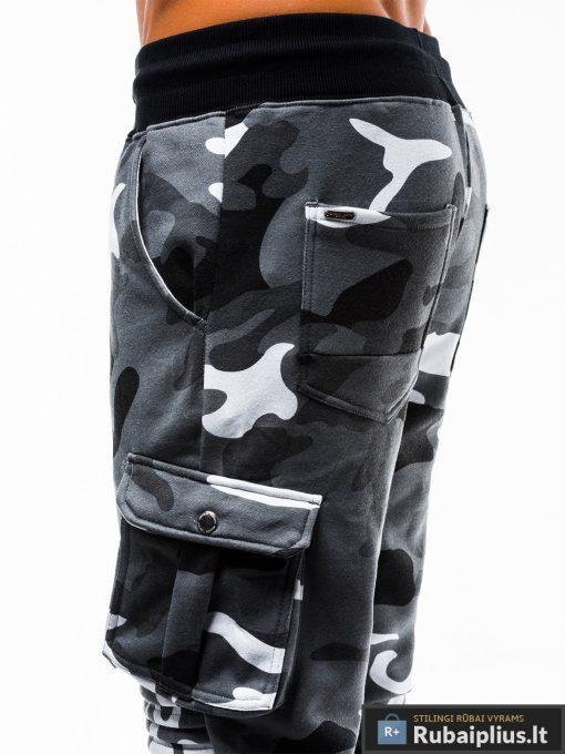 Stilingos vyriskos pilkos kamufliažinės sportinės kelnės vyrams internetu pigiau P747PKAM šonas