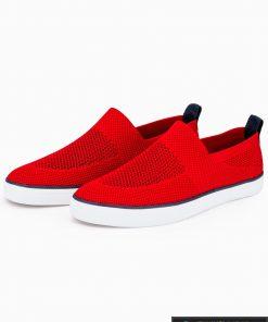 Slip on vyriski raudoni laisvalaikio batai vyrams su tinkleliu internetu pigiau T308R pora