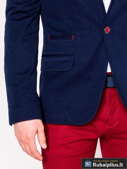 Tamsiai mėlynas vyriškas švarkas bleizeris vyrams internetu pigiau M138TM kišenė