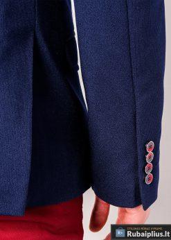Tamsiai mėlynas vyriškas švarkas bleizeris vyrams internetu pigiau M138TM rankovė