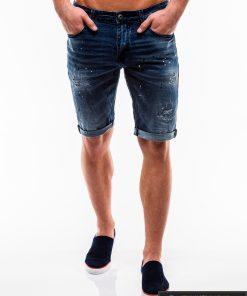 Vyriski tamsiai mėlyni džinsiniai šortai vyrams internetu pigiau W125 priekis žmogus