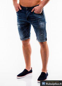Vyriski tamsiai mėlyni džinsiniai šortai vyrams internetu pigiau W125 kairė