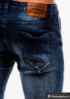 Vyriski tamsiai mėlyni džinsiniai šortai vyrams internetu pigiau W125 kišenė