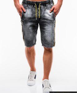 Vyriski juodi džinsiniai šortai vyrams su užrašais internetu pigiau W135J priekis