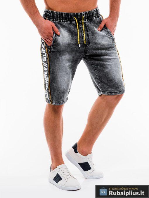 Vyriski juodi džinsiniai šortai vyrams su užrašais internetu pigiau W135J dešinė