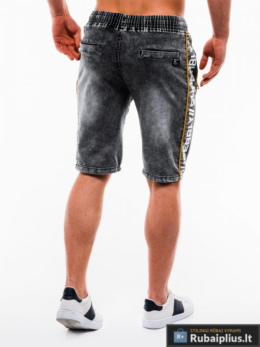 Vyriski juodi džinsiniai šortai vyrams su užrašais internetu pigiau W135J nugara